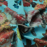 "Bright Floral on Aqua Scuba Fabric 60"" Wide, Waterproof Fabric"