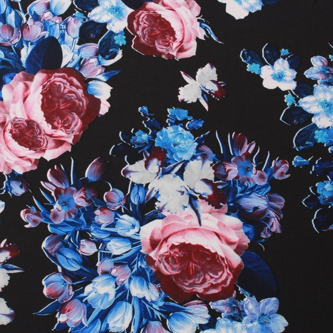 "Floral Scuba , Blue & Red 60"" Wide, Waterproof Fabric"