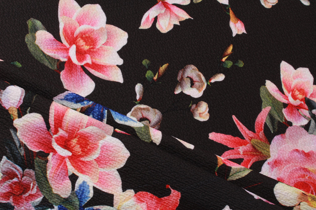 "Black Scuba with Coloured Floral 60"" Wide"