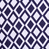 "Inverted Diamonds Navy & White, 100% Printed Polyester Peachskin, 60GSM, 60"" Wide (150cm)"
