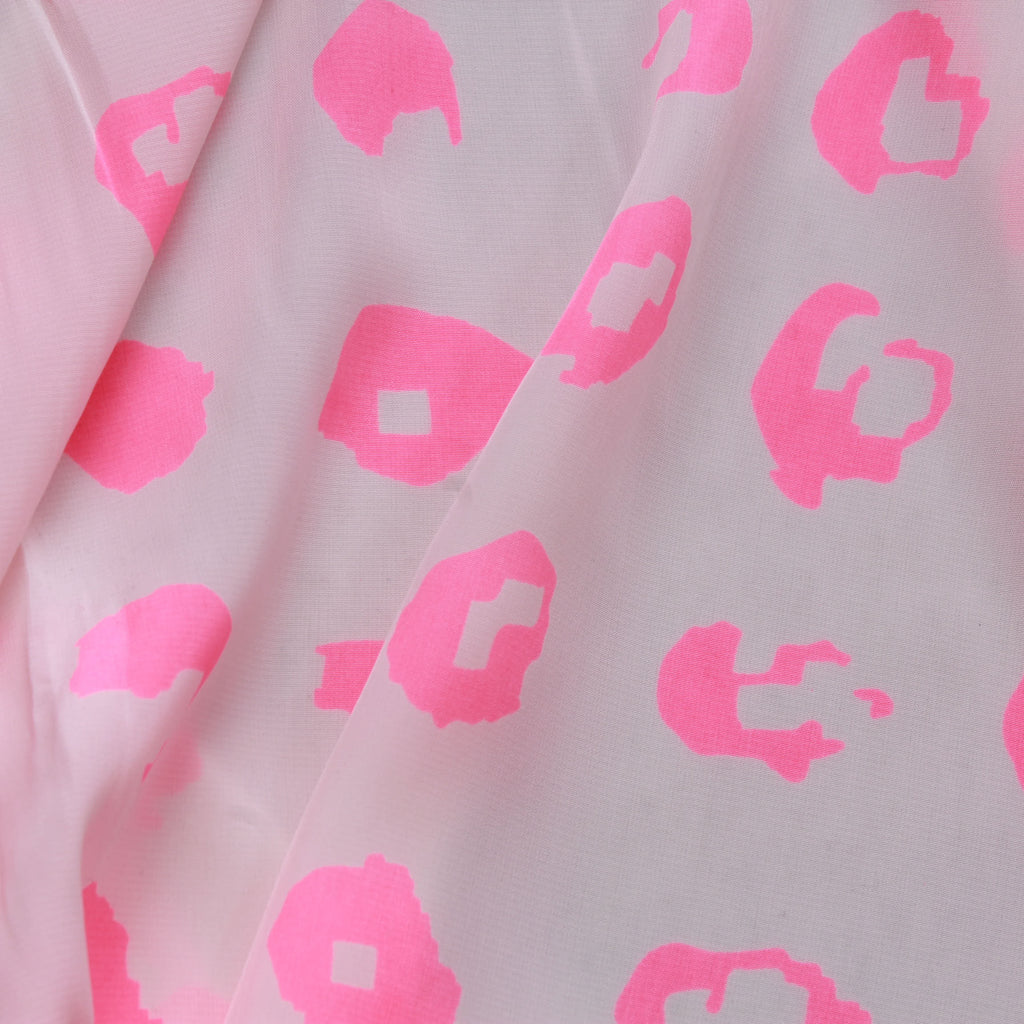 "Flo Pink Leopard Print On White, 100% Polyester Printed Peachskin, 60GSM, Approx 60"" Wide (150cm)"