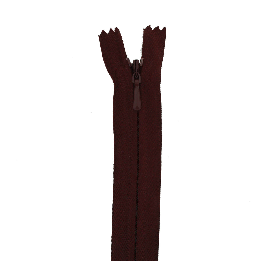 "20"" Concealed Burgundy Common Zipper"