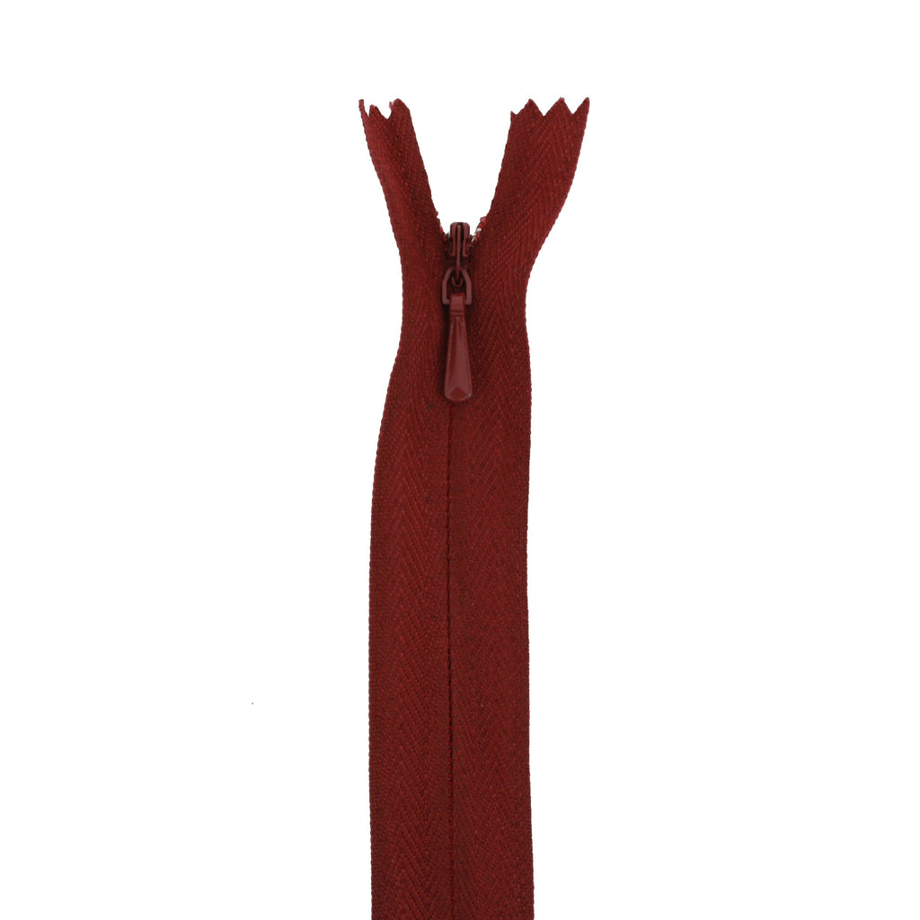 "20"" Concealed Maroon Common Zipper"