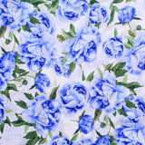 Lawn Cotton Vintage Floral Rose Garden Collection Premium Quality Blue