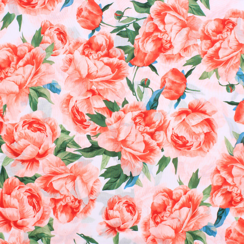 Lawn Cotton Vintage Floral Rose Garden Collection Premium Quality Coral