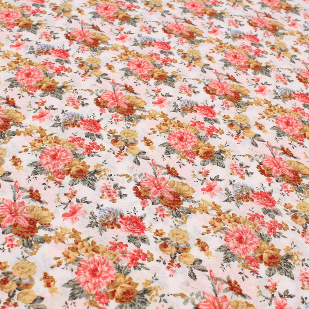 Lawn Cotton Vintage Flower Patch Collection Premium Quality Pink