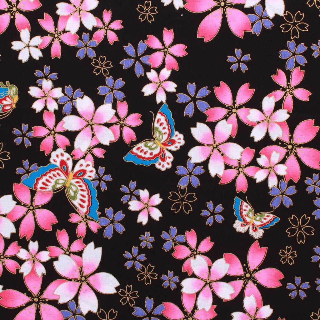 "Foil Cotton Floral Butterfly Garden Japanese Fabric 60"" Wide"