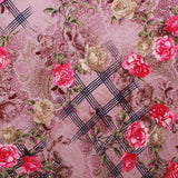 "Crepe Fabric Tartan Rose 44"" Wide"