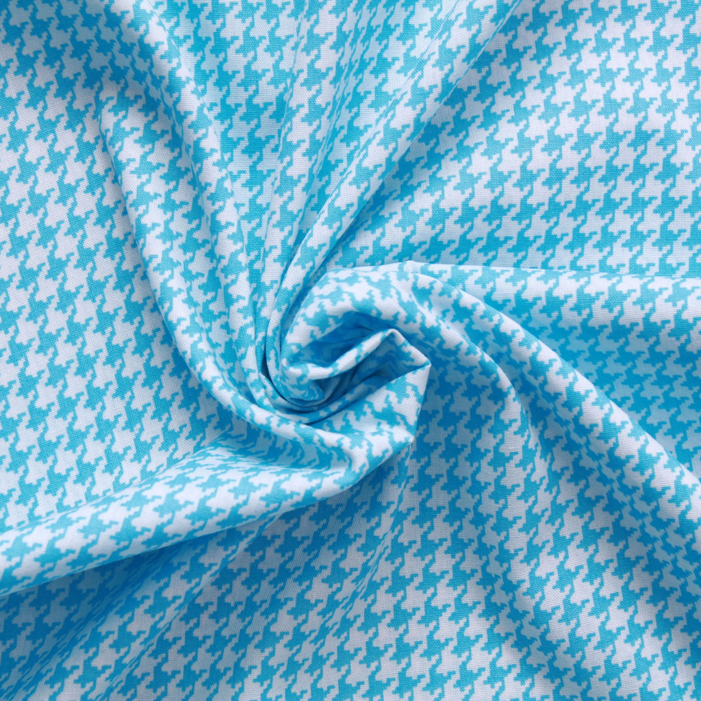 "Dogtooth Cotton Printed Poplin - Blue  Approx 60"" Wide (150cm)"