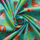 "Multi Floral Elephants Turquoise 100% Cotton Printed Poplin 60"" Wide (150cm) 100GSM"