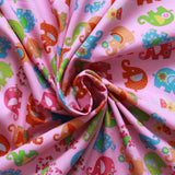 "Multi Floral Elephants Pink 100% Cotton Printed Poplin 60"" Wide (150cm) 100GSM"