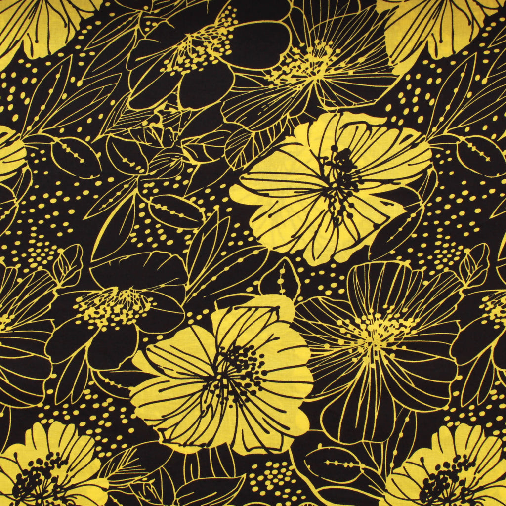 "100% Cotton Lawn, Silhouette Floral, Black & Yellow, 58"" Wide"