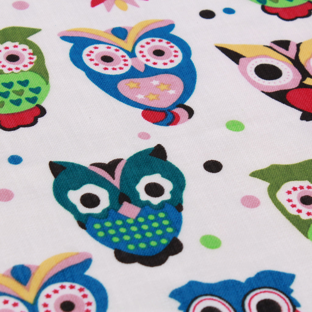 White Multi Owls - 100% Polyester Printed Santana Yarn, 150cm Wide, 90GSM