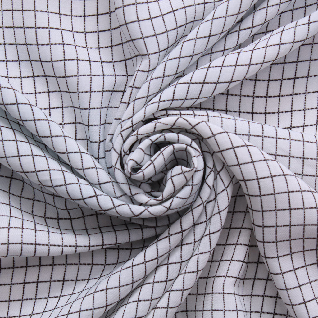 White Small Checks - 100% Polyester Printed Santana Yarn, 150cm Wide, 90GSM