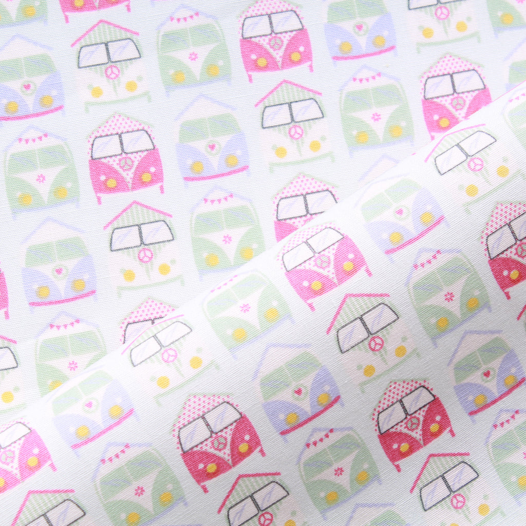 "Peace Camper Van, 100% Cotton Printed Poplin, Approx. 44"" Wide (112cm)"