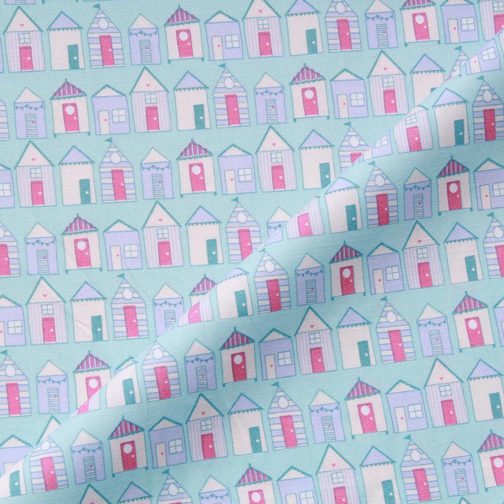 "Beach Huts, 100% Cotton Printed Poplin, Approx. 44"" Wide (112cm)"