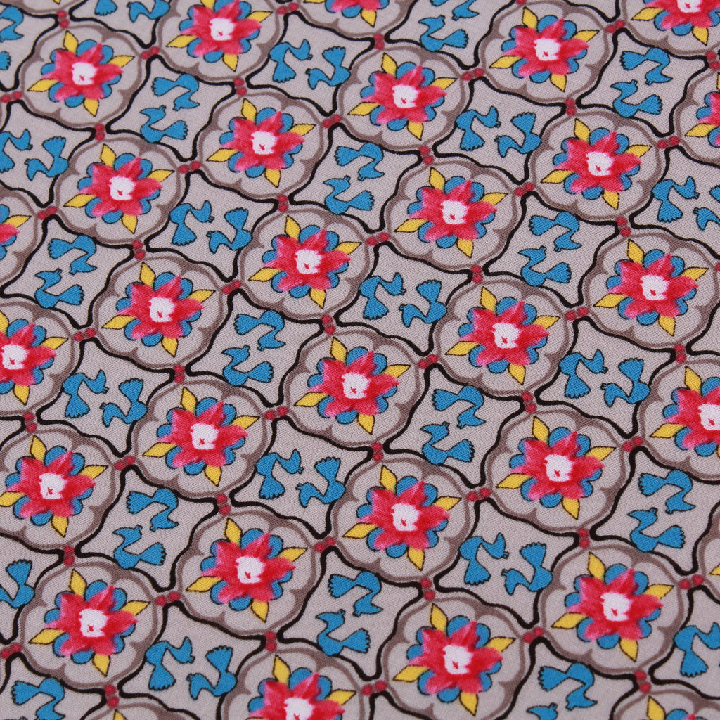 "100% Cotton Lawn, Floral Blocks, 58"" Wide"