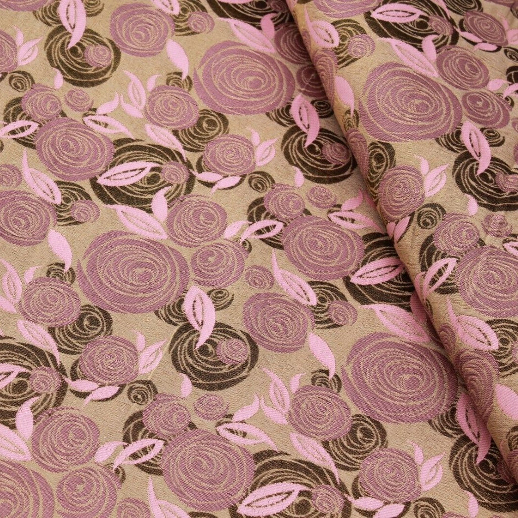 Shimmer Brocade Jacquard Abstract Rose Fabric