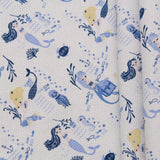 Mermaids Themed Quilting Cotton, Under the Sea Collection, Blue & White, FF312.2