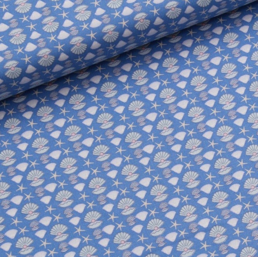 Pearls Themed Quilting Cotton, Under the Sea Collection, Blue & White, FF313.2