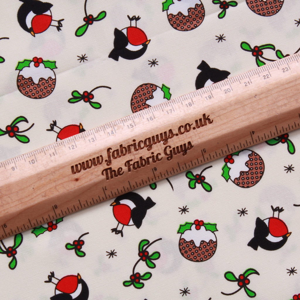 "Magpies & Pudding Vintage Christmas 100% Cotton Printed Poplin 44"" Wide (112cm)"