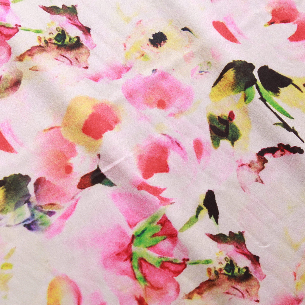Water Paint Floral 100% Polyester Digital Print Satin, Approx 147cm Wide