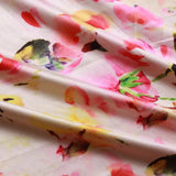Water Paint Floral, 100% Polyester Digital Print Satin, Approx 147cm Wide