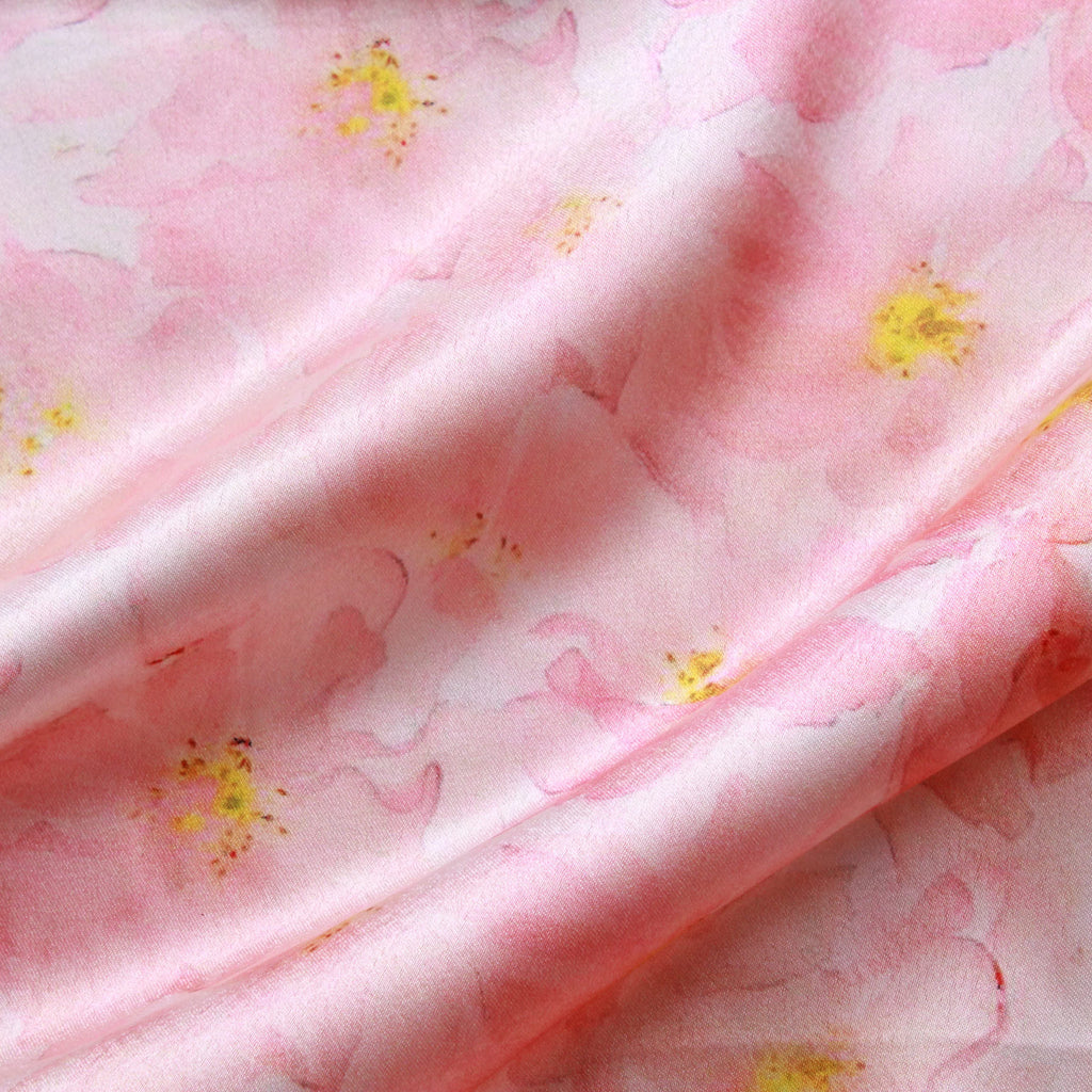 Pastel Floral 100% Polyester Digital Print Satin, Approx 147cm Wide