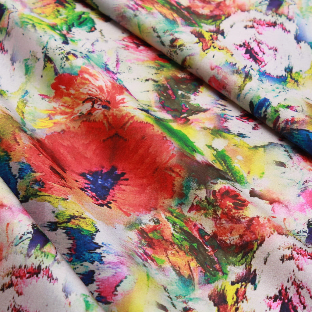 Abstract Floral 100% Polyester Digital Print Satin, Approx 147cm Wide