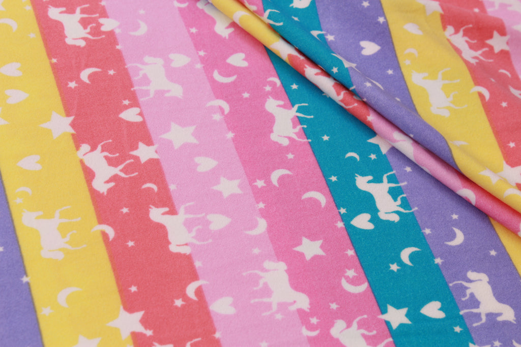 "Rainbow Unicorns Print, Brushed Jersey 60"" Wide"