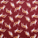 The Fox Trot Soft Print Brushed Cotton Burgundy