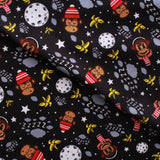 Monkey in Space Soft Print Brushed Cotton Black