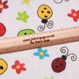 Ladybirds On Flowers Soft Print Brushed Cotton White