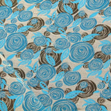 Shimmer Brocade Jacquard Abstract Rose Fabric Turquoise