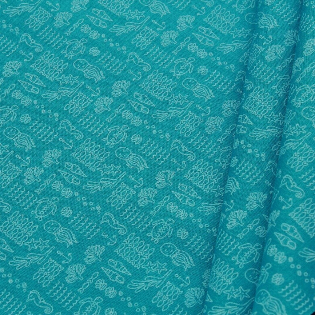 Under the Sea Quilting Cotton, Paste Print, Green, FF316.3