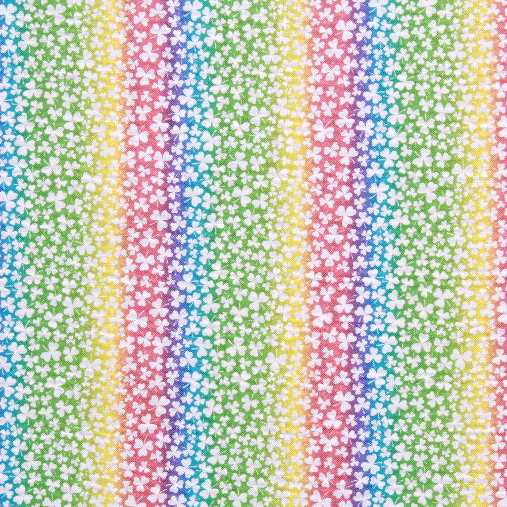 "Rainbow Gradient Small Clovers,St Patricks Day Quilting Cotton Collection, 100% Premium Quilting Cotton Fabric, 44"" Wide (111cm), 140GSM"