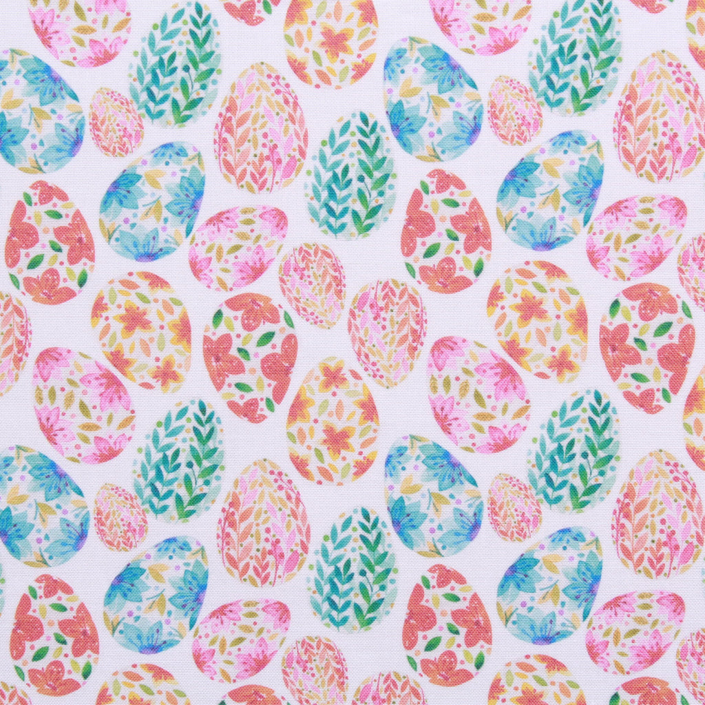 "Multi Floral Easter Egg, Eggtastic Easter Quilting Cotton Collection, 100% Premium Quilting Cotton Fabric, 44"" Wide (111cm), 140GSM"