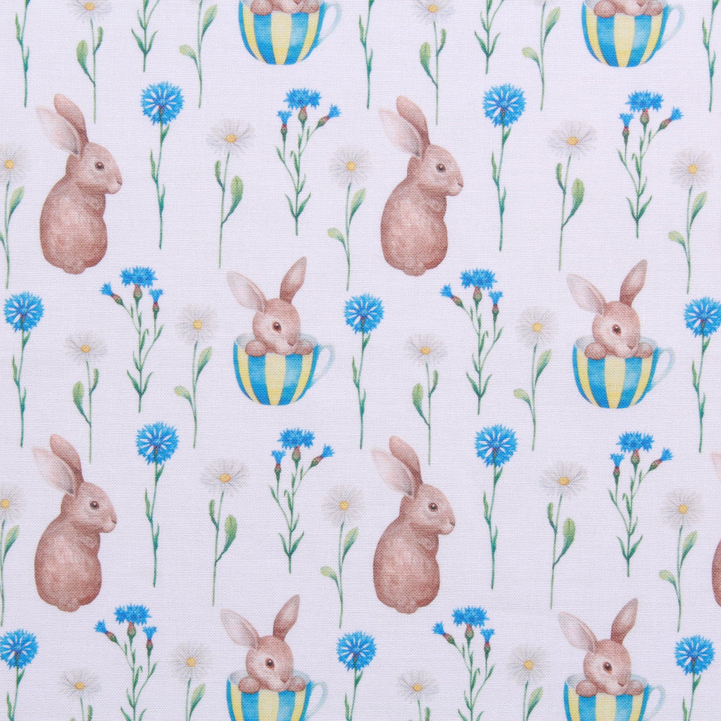 "Vintage Floral Bunnies 2, Eggtastic Easter Quilting Cotton Collection, 100% Premium Quilting Cotton Fabric, 44"" Wide (111cm), 140GSM"