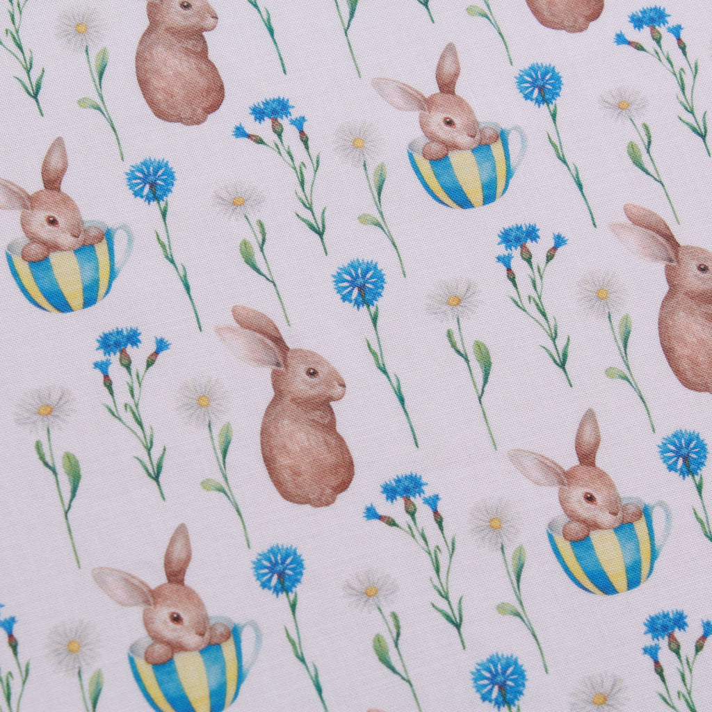 "Vintage Floral Bunnies, Eggtastic Easter Quilting Cotton Collection, 100% Premium Quilting Cotton Fabric, 44"" Wide (111cm), 140GSM"