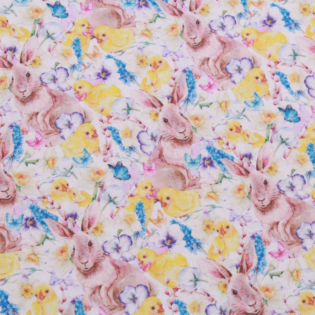 "Floral Easter Surprise, Eggtastic Easter Quilting Cotton Collection, 100% Premium Quilting Cotton Fabric, 44"" Wide (111cm), 140GSM"