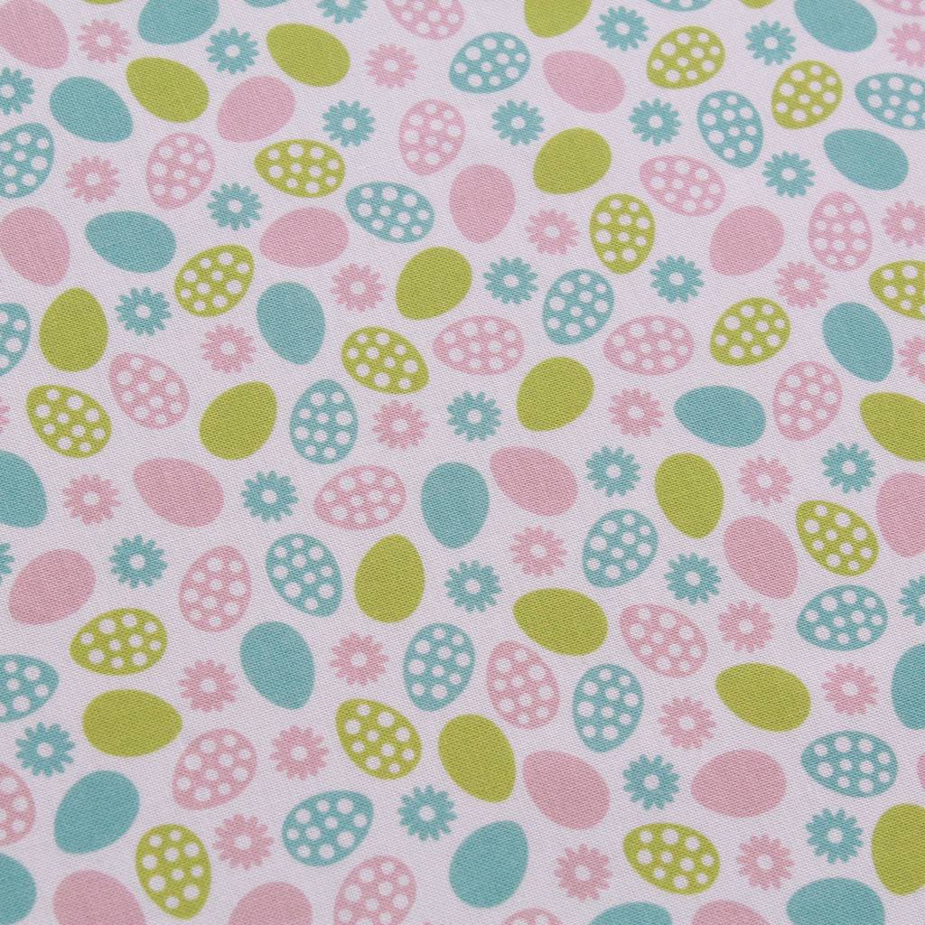 "Polka Dot Daisy Egg Silhouette, Eggtastic Easter Quilting Cotton Collection, 100% Premium Quilting Cotton Fabric, 44"" Wide (111cm), 140GSM"