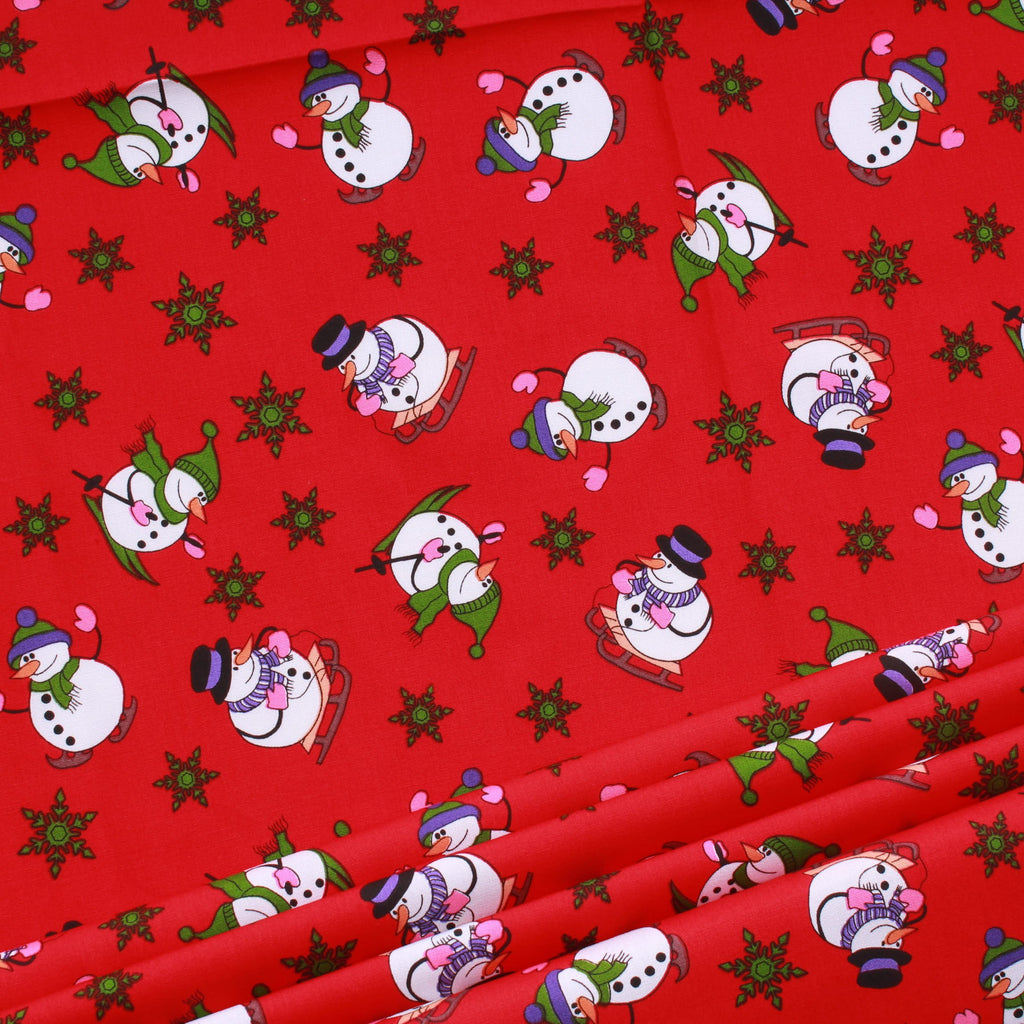 "Sleighing Snowman Christmas 100% Cotton Printed Poplin 44"" Wide (112cm) - Red"