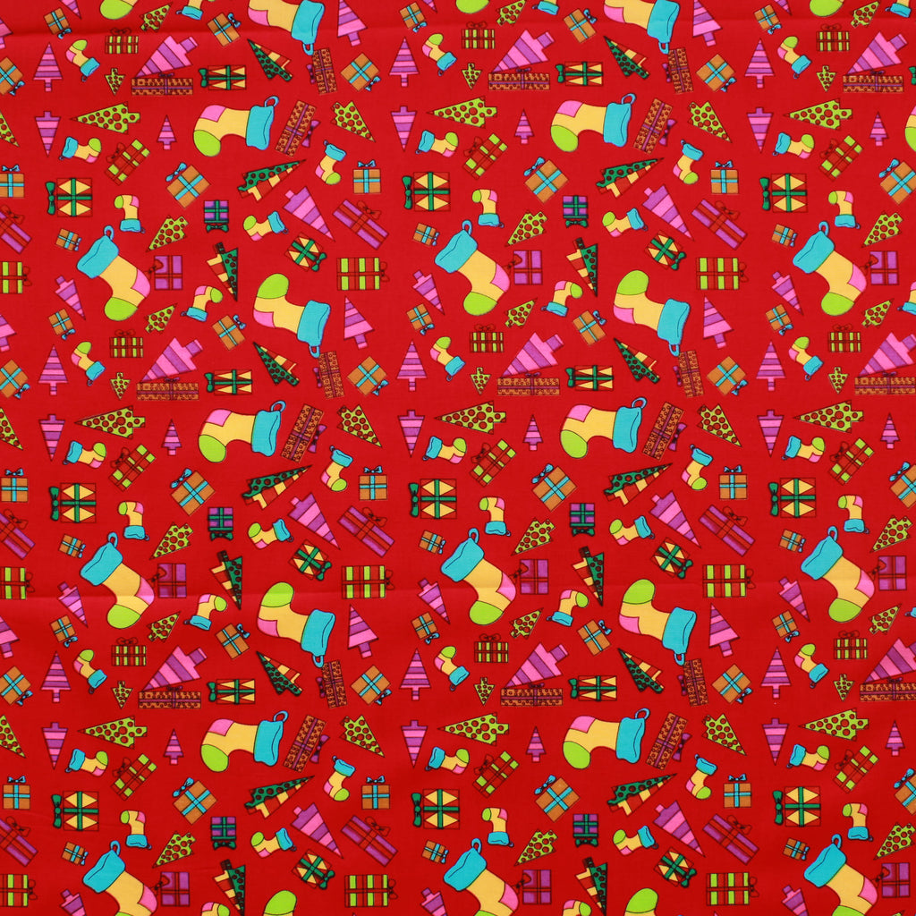 "Neon Christmas 100% Cotton Printed Poplin 44"" Wide (112cm) - Red"