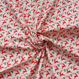 "Reindeers First Christmas 100% Cotton Printed Poplin 44"" Wide (112cm) - Cream/Red"