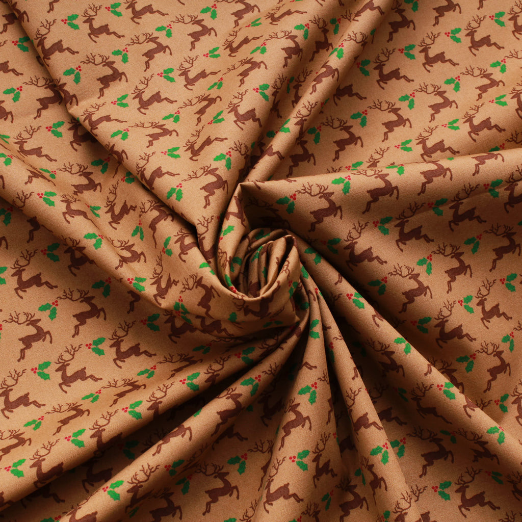 "Reindeers First Christmas 100% Cotton Printed Poplin 44"" Wide (112cm) - Brown"
