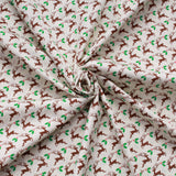 "Reindeers First Christmas 100% Cotton Printed Poplin 44"" Wide (112cm) - Cream"