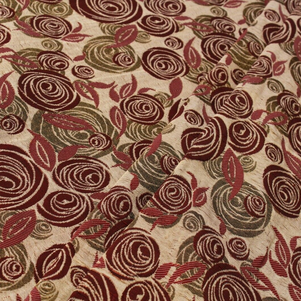 Shimmer Brocade Jacquard Abstract Rose Fabric Red
