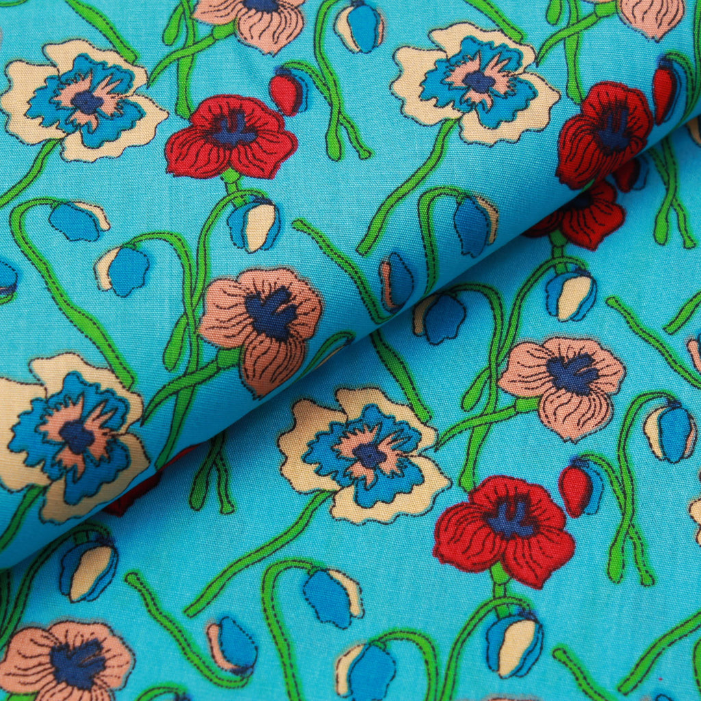 Flowers & Bulbs 100% Printed Cotton Poplin, 100GSM, 150cm Wide - Turquoise