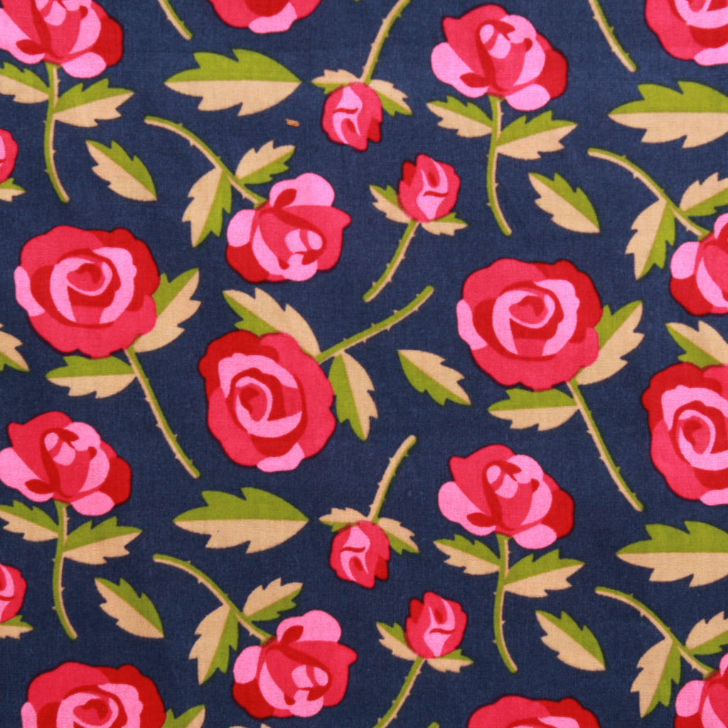Cartoon Floral 100% Printed Cotton Poplin, 100GSM, 150cm Wide - Navy