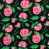 Cartoon Floral 100% Printed Cotton Poplin, 100GSM, 150cm Wide - Black